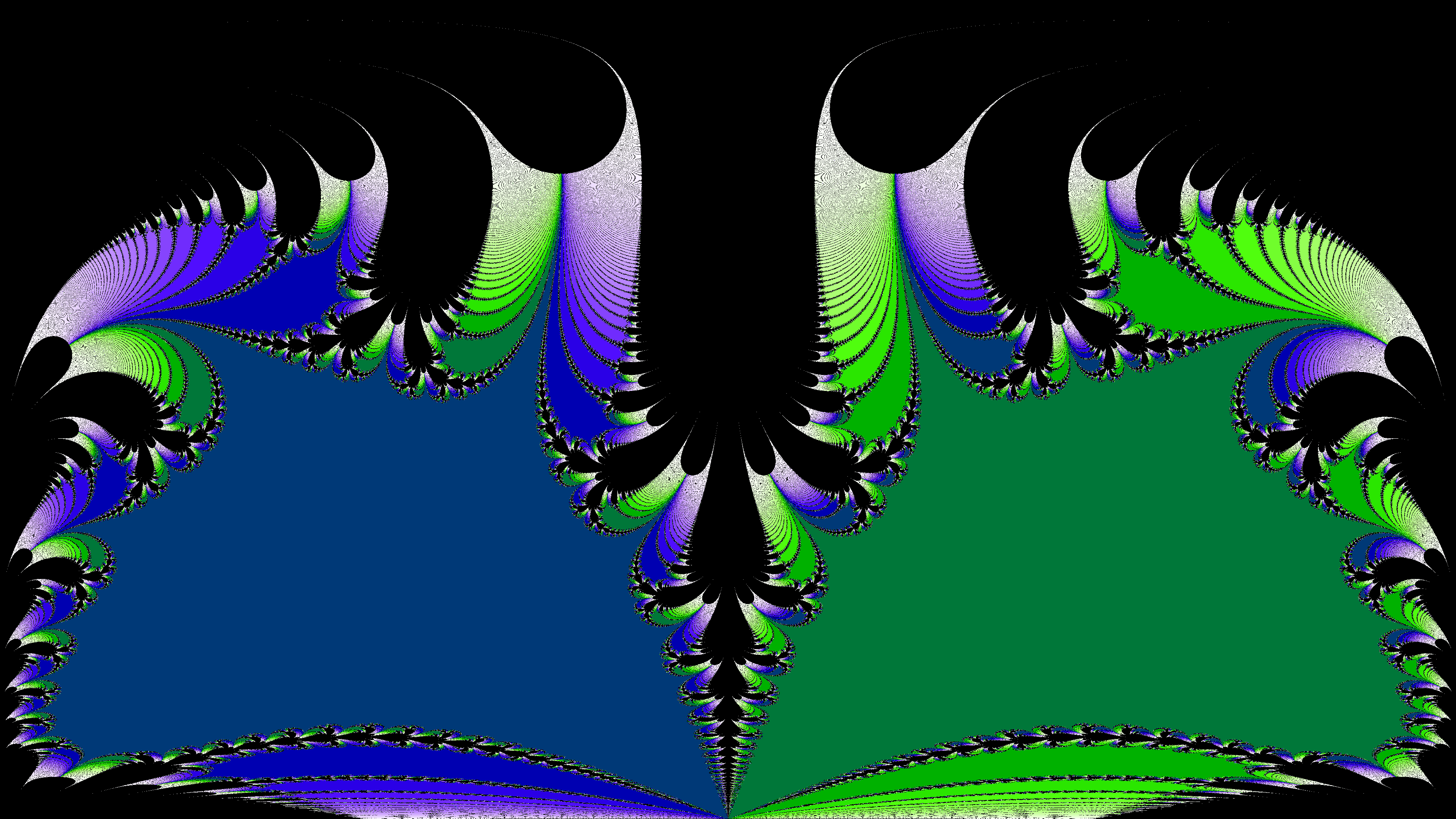 A newton fractal on the Riemann sphere shown using an equirectangular projection