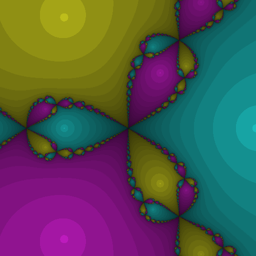 Newton fractal where the darkness depends on the iteration count